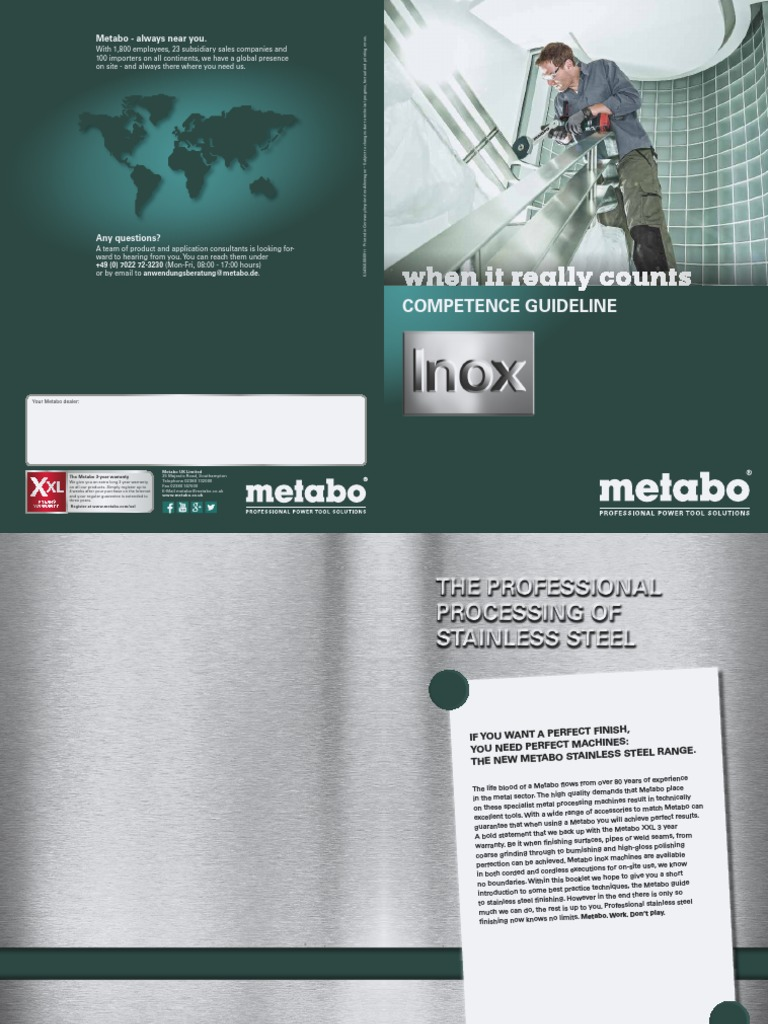 Metabo Inox Competence Guideline En Grinding Abrasive Cutting Cordless Angle Grinder W18 Ltx 125 Mill