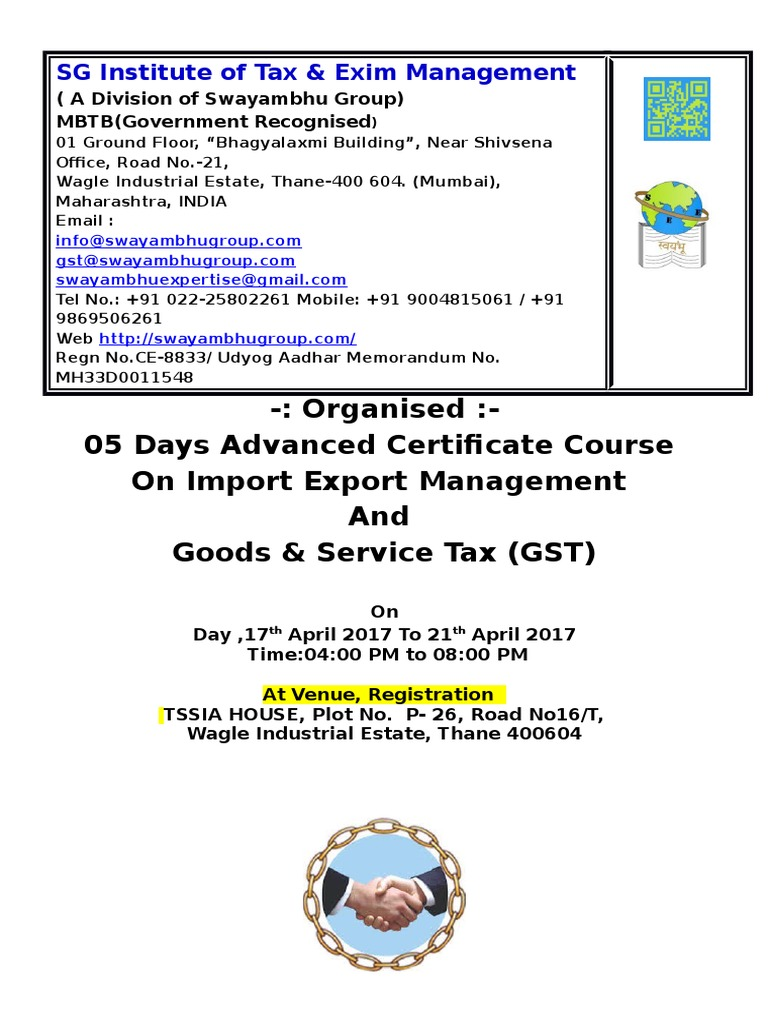 05 Days Advanced Certificate Course On Import Export Management And