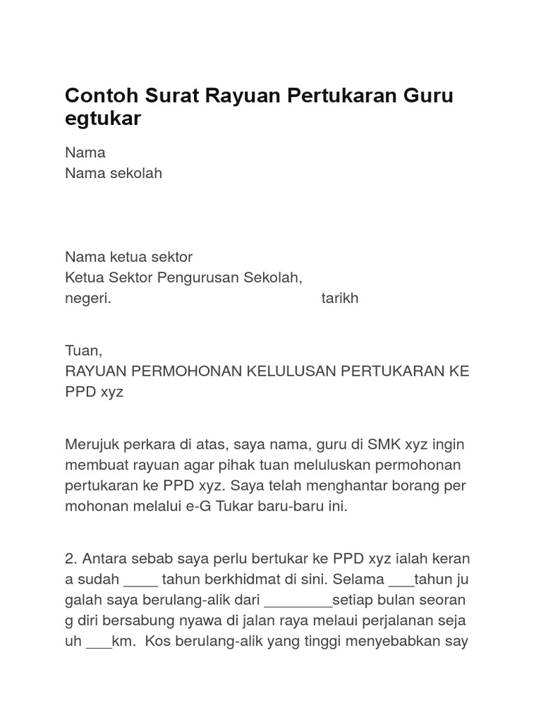 Contoh Surat Rayuan Pertukaran Guru Egtukar Docx