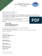 Letter for PTA
