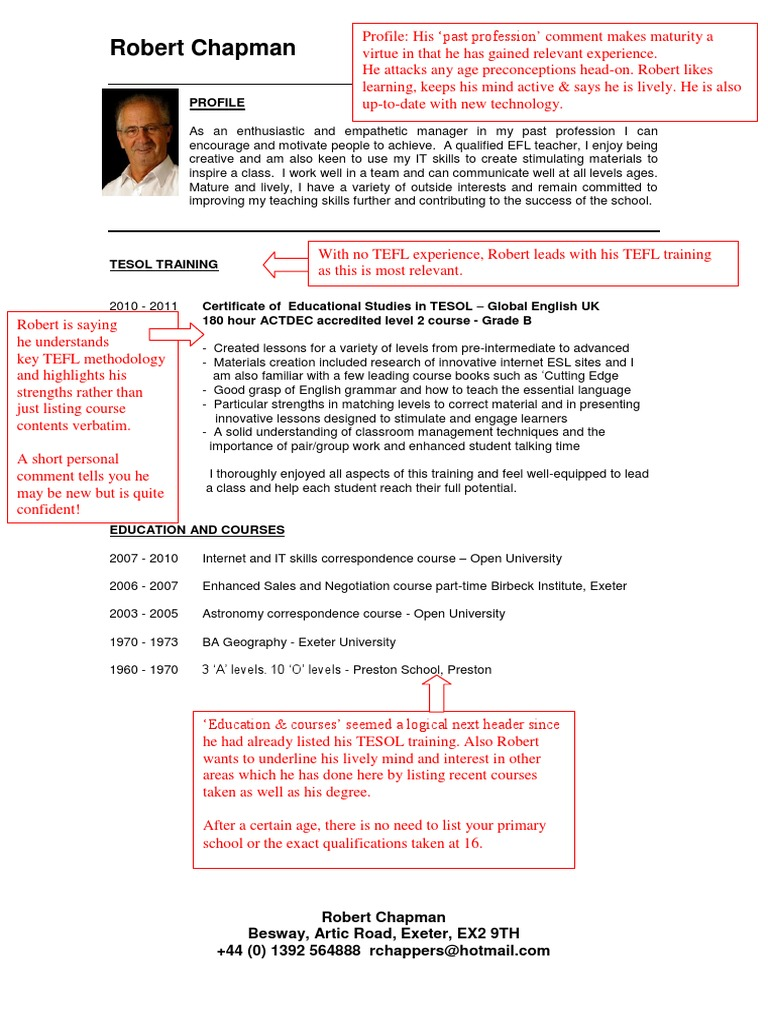 TEFL_CV_template_with_edits_2 pdf | English As A Second Or Foreign