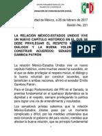 26-02-17 BOLETÍN SENADOR EMILIO GAMBOA, LA RELACIÓN CON ESTADOS UNIDOS  DE RESPETO MUTUO, 26 DE FEBRERO