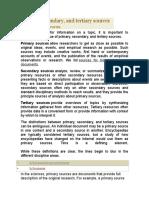 Fuentes de Information Primarias, Secudarias y Terciarias