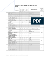Cuadro de Distribución de Horas Almizcle Secundaria 2013