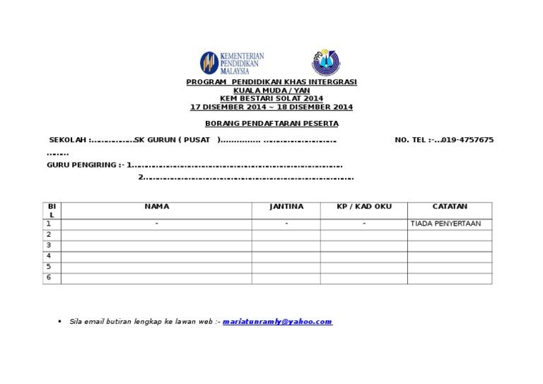 Borang Pendaftaran Kem Bestari Solat Pkhas Ppdkmy 2014