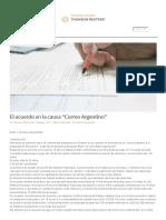 """Derecho Administrativo - Thomson Reuters - El Acuerdo en La Causa """"Correo Argentino"""""""