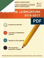 Catalogo de Licenciaturas en el Estado de Oaxaca, México