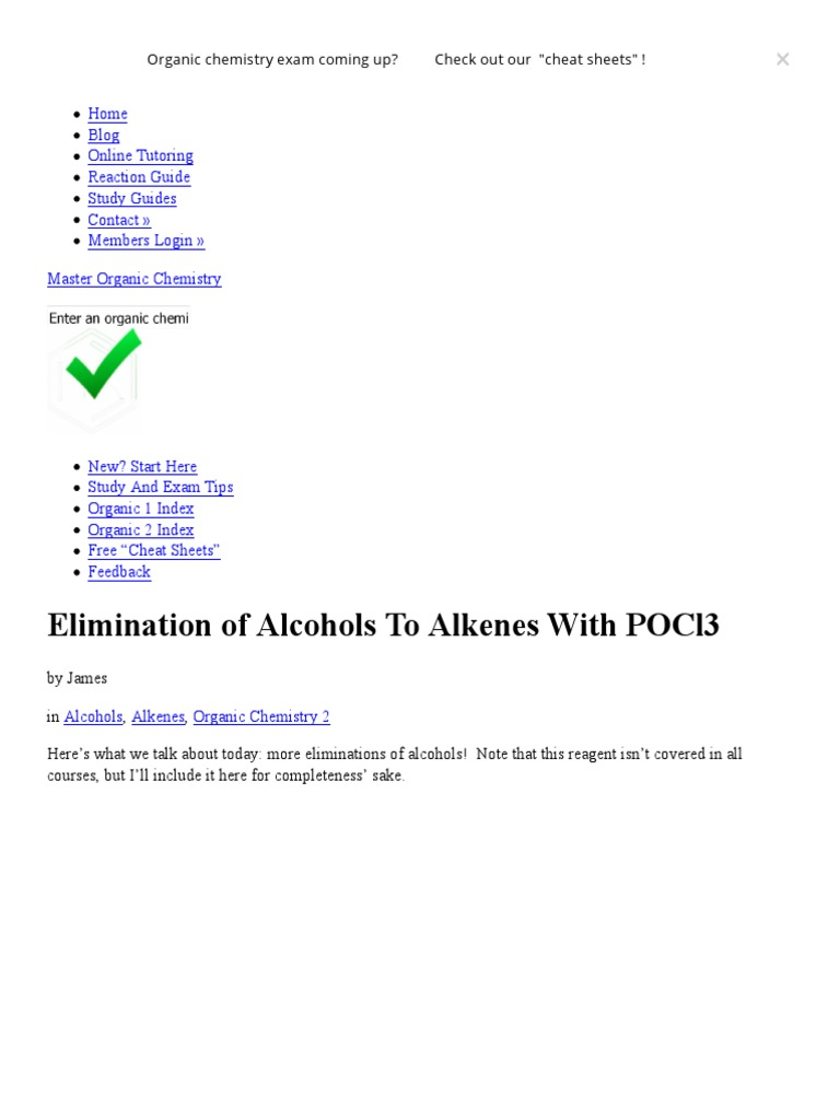 Elimination Of Alcohols To Alkenes With Pocl3 Master Organic