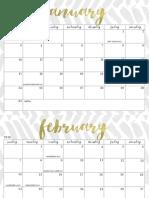OhSoLovelyBlog 2016 Calendar Simple Gold