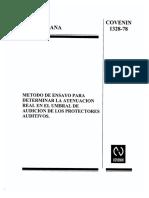 Norma COVENIN 1328-78 Metodo de Ensayo para Determinar la Atenuacion Real en el Umbral de Audicion de los Protectores Auditivos.pdf
