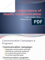 The Importance of Health Communication LeslieSnyder