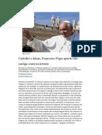 Il Papa, Cattolici e Islam
