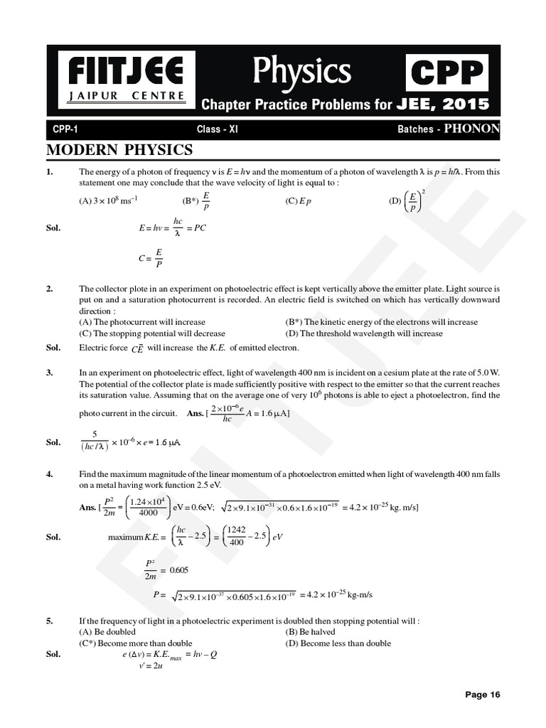 Modern Physics (CPP 1 to 3) pdf | Photoelectric Effect | Electron