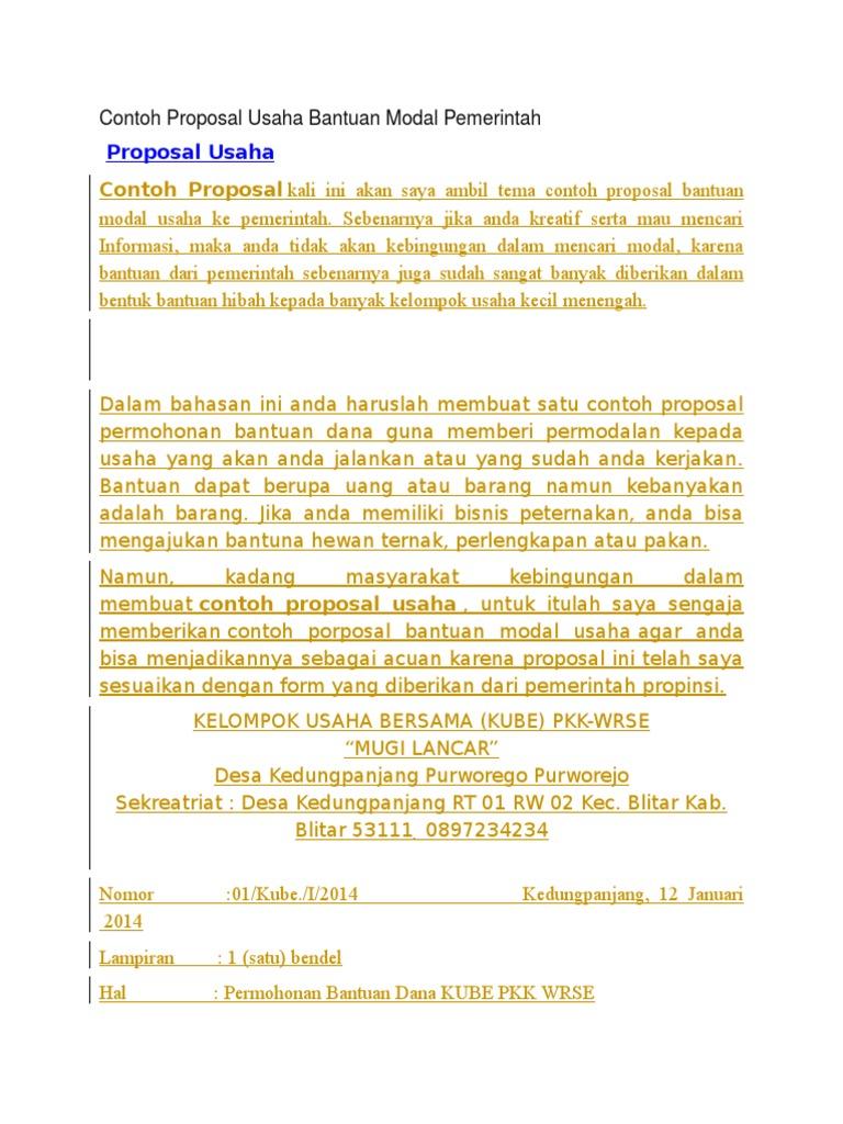 Contoh Proposal Bantuan Dana Usaha Kecil Menengah Berbagi Contoh Proposal