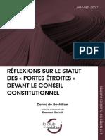 Réflexions sur le statut des « portes étroites » devant le Conseil constitutionnel
