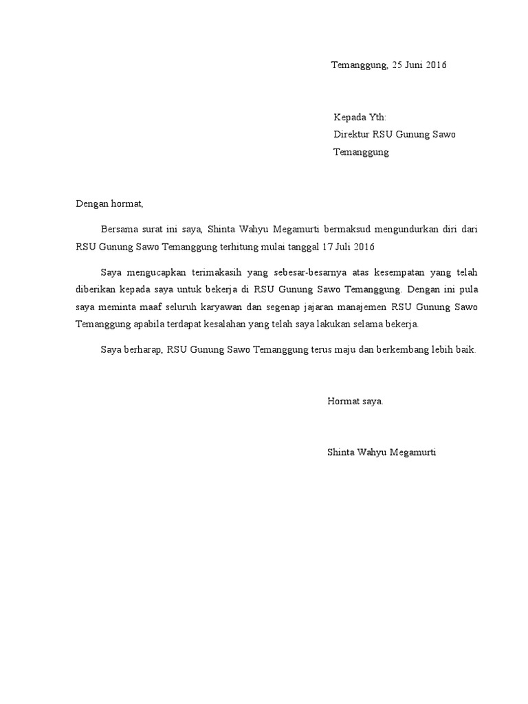 Contoh Surat Pengunduran Diri Resign Dari Tempat Kerja Doc