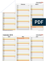 Calendar 2016 Landscape 4 Pages