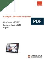 Example Resoponses IGCSE BUSINESS STUDIES