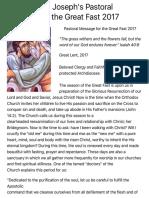Metropolitan Joseph's Pastoral Message for the Great Fast 2017   Antiochian Orthodox Church