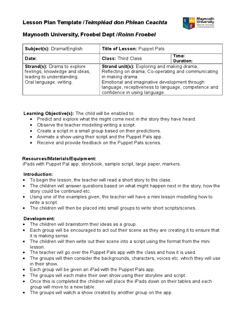 Mini Lesson Plan Template Insssrenterprisesco - University lesson plan template