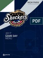 Gameday Suite Menu