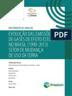 Evolucao Emissao Gases Efeito Estufa Brasil 1990-2013
