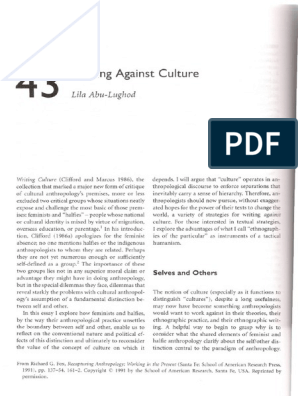 abu-lughod l 1991 writing against culture summary