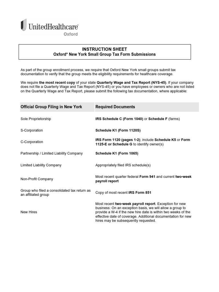 NY Small Group Tax Form Submissions Instruction Sheet pdf