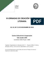 Programa III Jornadas Creación y Crítica Literaria - 2015 - CCC-Ubacyt