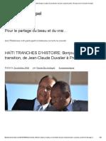 HAÏTI TRANCHES D'HISTOIRE_ Bonjour Et Adieu à La Transition, De Jean-Claude Duvalier à Prosper Avril _ Parole en Archipel
