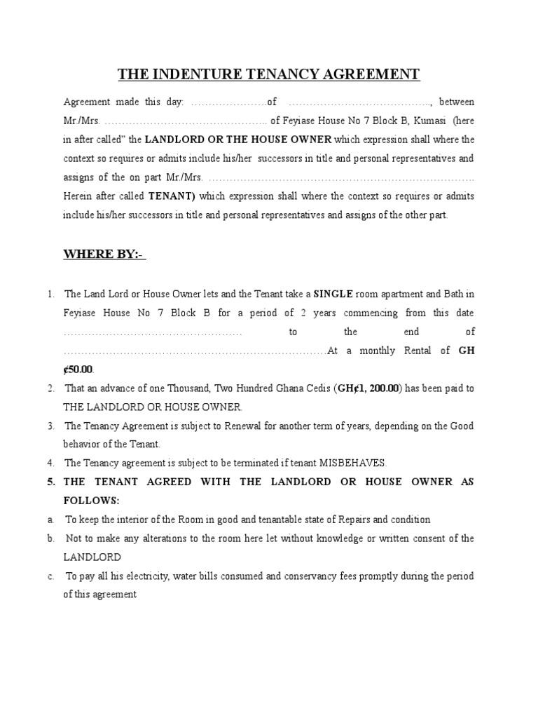 Tenancy Agreement In Ghana Pdf