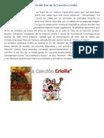 Historia Del Día de La Canción Criolla