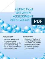 Distinction Between Assessment and Evaluation