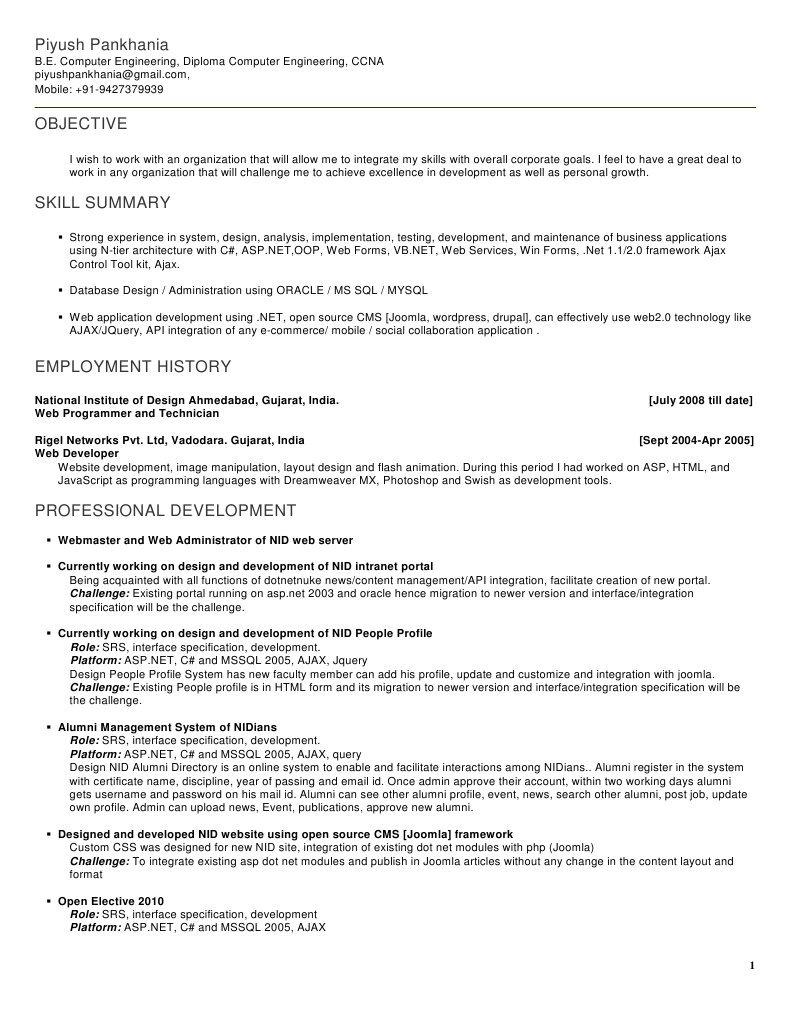 Piyush Pankhania Resume | Application Programming Interface | Websites