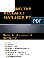 Writing the Research Manuscript