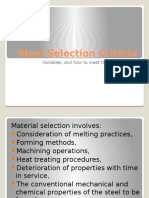 Steel Selection Criteria