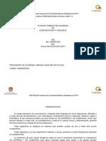 Plan de Trabajo De Academia de Comunicación Y Lenguaje del  2do. Semestre del Ciclo Escolar 2016-2017