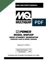 MQP20P  Manual Genset Perkins