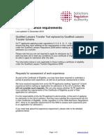 Qlltt Experience Requirements December2013