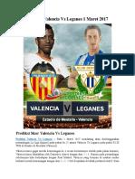Prediksi Valencia vs Leganes 1 Maret 2017