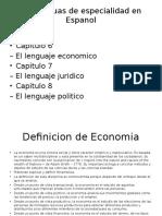 Las Lenguas de Especialidad en Espanol