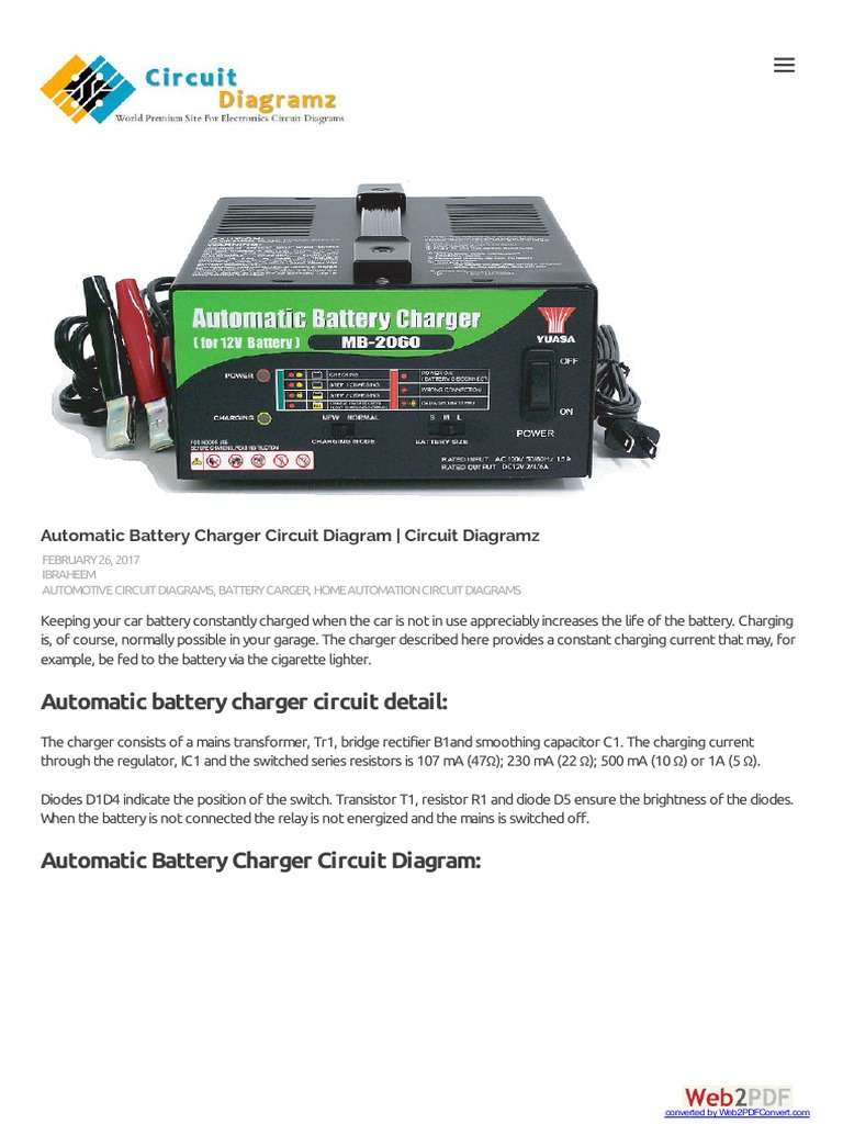 Automatic Battery Charger Circuit Diagram Diagramz Schematic Ac Car Conversion Ev Electrical Wiring Diagrams Schematics Electronic Circuits