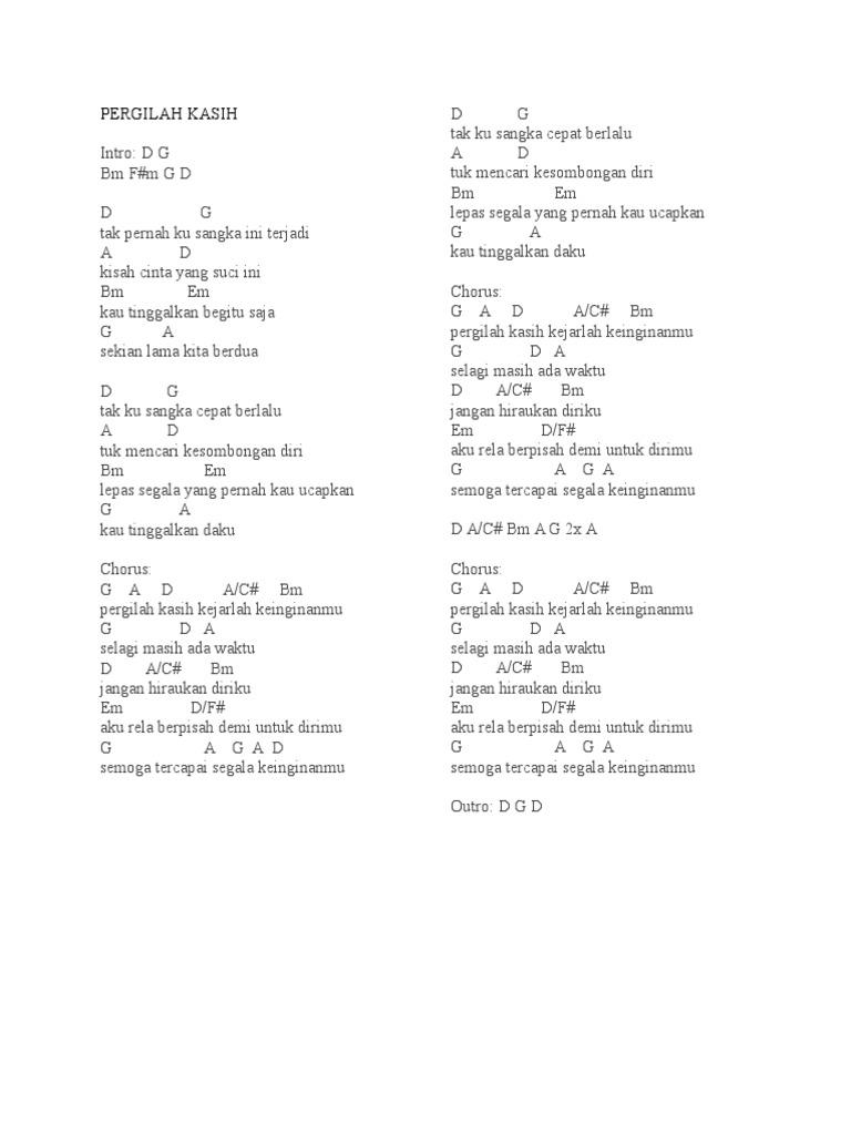 Chord Lagu Pergilah Kasih