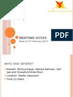 Meeting Notes Week 19