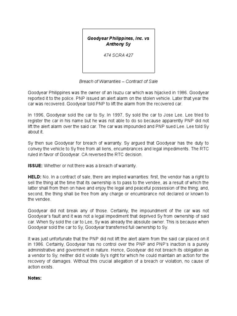 breach of warranty contract law