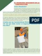 Funciones Del Ingeniero Residente en La Construcción