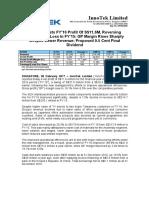 InnoTek Posts FY'16 Profit Of S$11.6M, Reversing S$16.3M Net Loss In FY'15; GP Margin Rises Sharply Despite Lower Revenue; Proposed 0.5 Cent Final Dividend