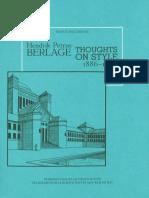 Berlage Hendrik Petrus Thoughts on Style 1886-1909