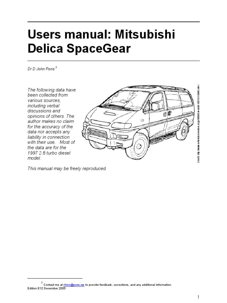 Mitsubishi Delica User Manual Spacegear 1997 E12 | Manual Transmission |  Transmission (Mechanics)