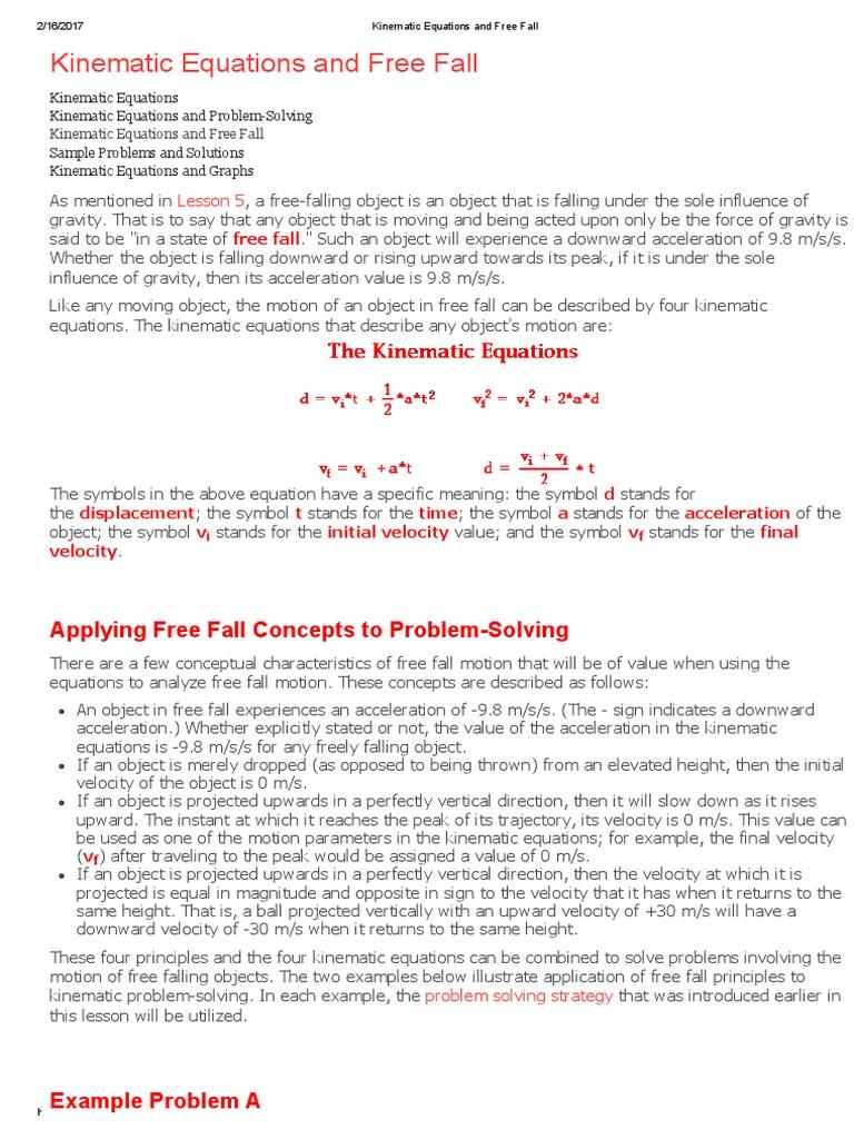 Kinematic Equations And Free Fallpdf Kinematics Velocity